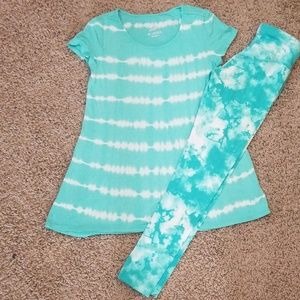 Justice Tie Dye Top and Leggings size 10